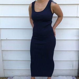 ZARA ribbed knit Navy colored tank maxi dress